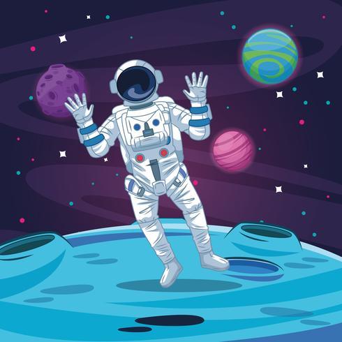 Astronaut in der Galaxiekarikatur vektor