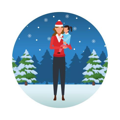 Frohe Weihnachten im Winter vektor