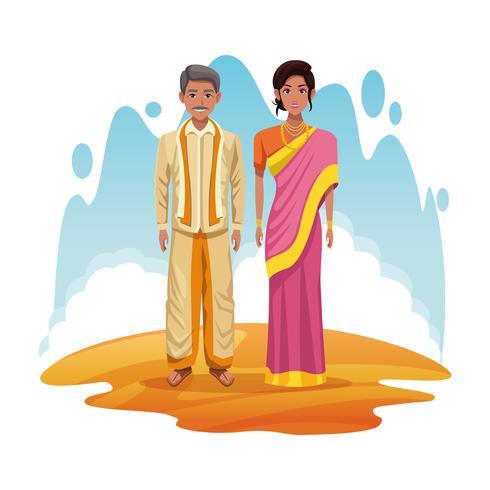 indische paar Indien Cartoon vektor