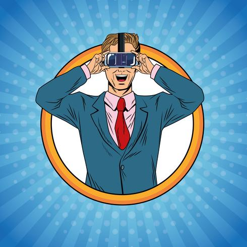 Pop-Art-Karikatur der virtuellen Realität des Geschäftsmannes vektor