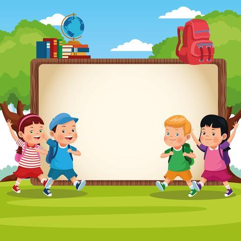 tillbaka till skolan barn tecknad film vektor