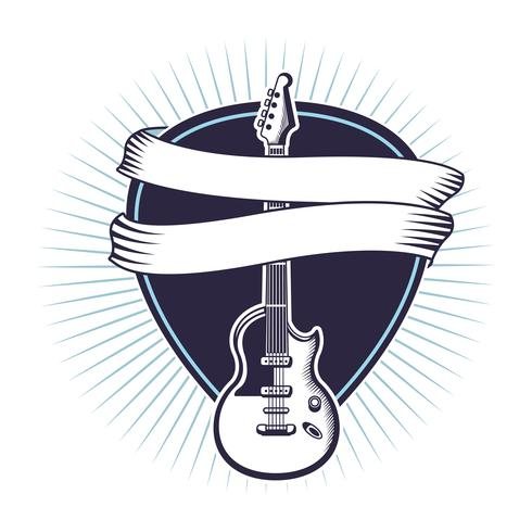 Rock and roll vintage emblem med teckningar vektor