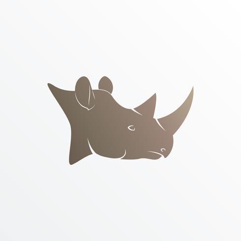 Vector Bild des braunen Nashornkopfes auf weißem Hintergrund.