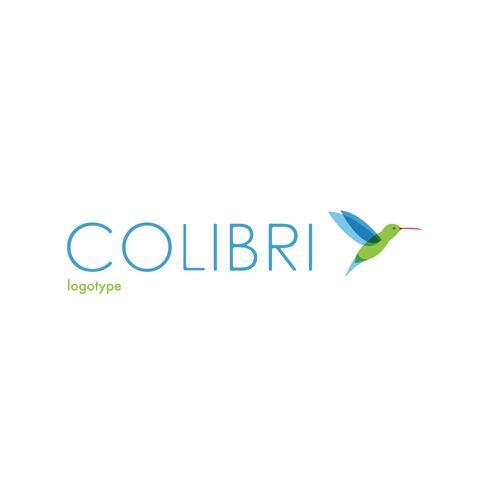 Colibri logotyp. Fågellogotyp. vektor