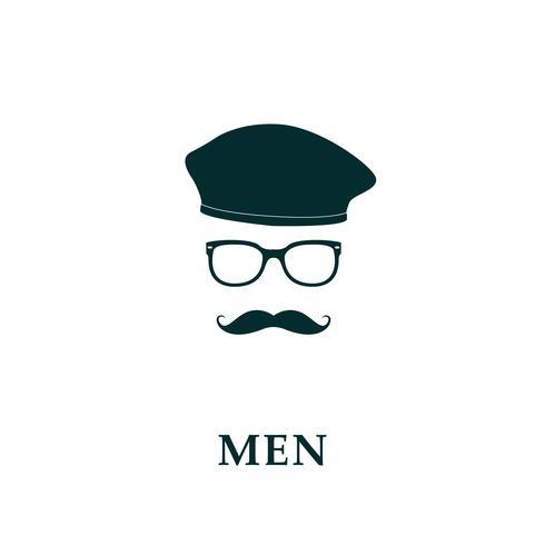 Män fransk basker och mustasch ikon i platt stil. vektor