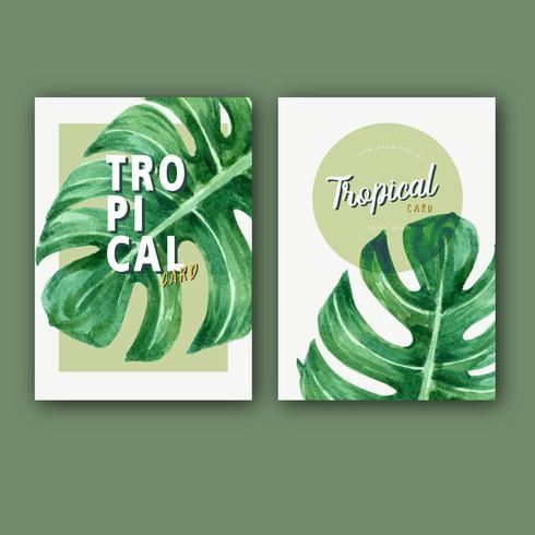 Tropischer Karte invitatoin Designsommer mit dem Betriebslaub exotisch, kreatives Aquarellvektorillustrations-Schablonendesign vektor