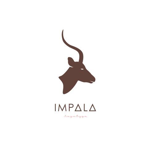 Konstnärlig stiliserad Impala-logotyp. vektor