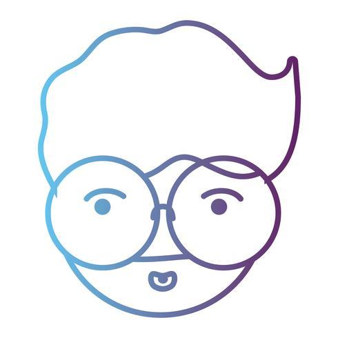 line avatar man huvud med frisyr design vektor