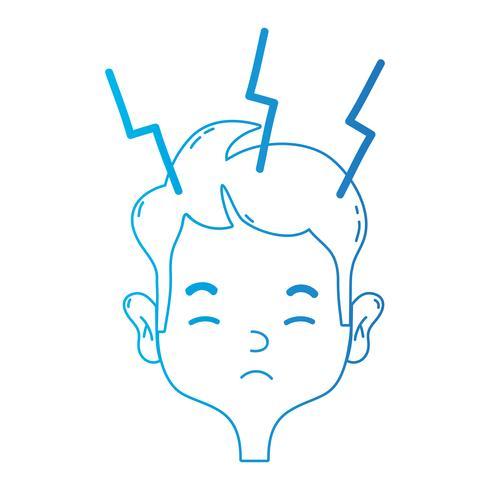 Linie Mann mit Kopfschmerzkrankheit, um Problem zu betonen vektor