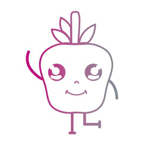 Linie kawaii nette glückliche Apfelfrucht vektor