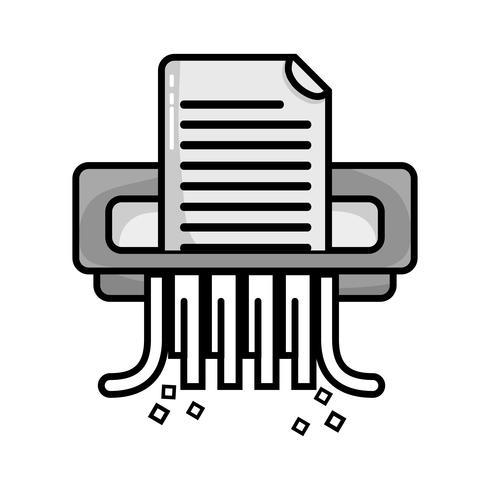 gråskala kontorspapper shredder maskin design vektor