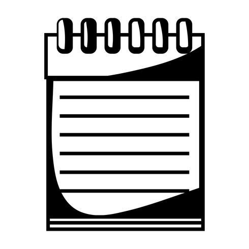 Kontur Notebook Papiere Objektdesign zu schreiben vektor