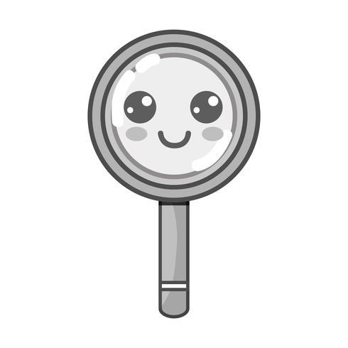 gråskala kawaii söt lyckligt förstoringsglas vektor
