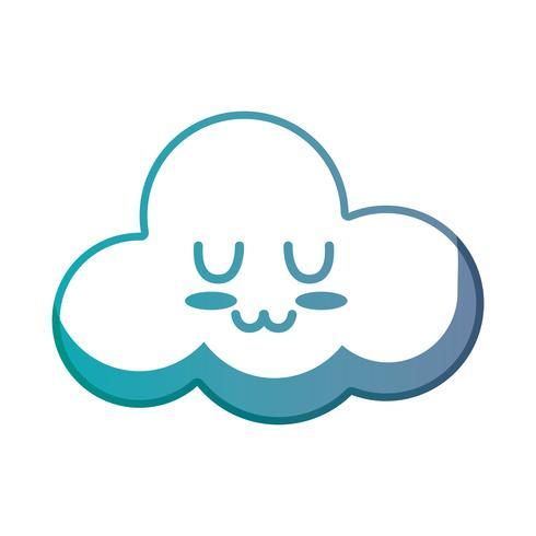 Linie kawaii niedliches zartes Wolkenwetter vektor
