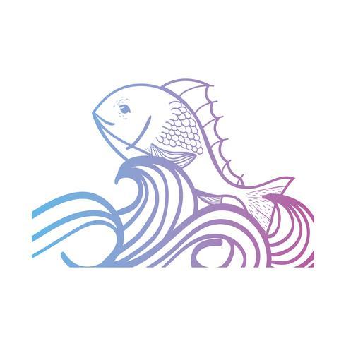 line fiskdjur i havet med vågdesign vektor