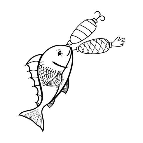linjefisk som spinner spinnerobjekt för att fånga det vektor