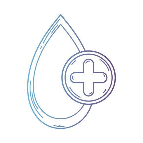 Linie Blutstropfen zum medizinischen Spendensymbol vektor
