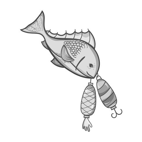 Graustufenfisch beißt Spinnerobjekt, um es zu fangen vektor