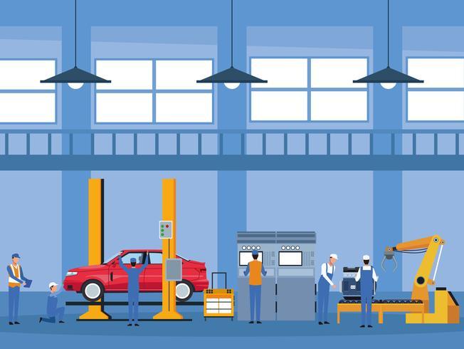 Arbetare på bilfabrik vektor