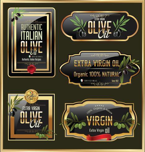 Retro etiketter för olivolja vektor