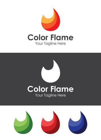Color Flame Logo Mall, bäst för ditt varumärke vektor
