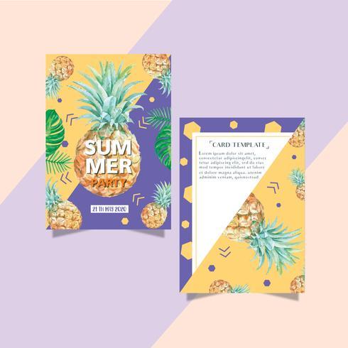Sommarinbjudningskortdesignsemesterfest på strandhavssolen, kreativ design för akvarellvektorillustration vektor