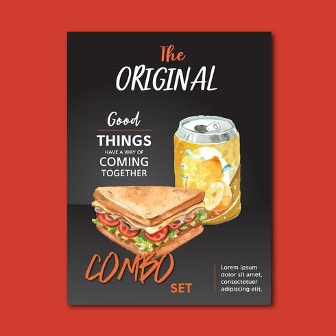 Schnellrestaurantplakatdesign für appetitanregendes Lebensmittel des Dekorrestaurantblickes, Schablonendesign, kreatives Aquarellvektor-Illustrationsdesign vektor