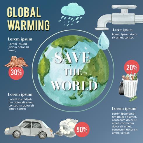 Global uppvärmning och förorening, rädda världen, nuvarande Infographic datastatistik, kreativ akvarellvektorillustrationmalldesign vektor