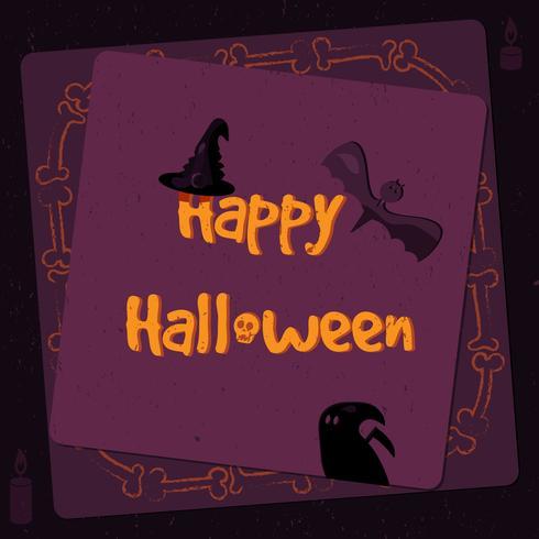 Halloween-Plakat, helle Fahne, Grußkarte in der Schmutzart vektor