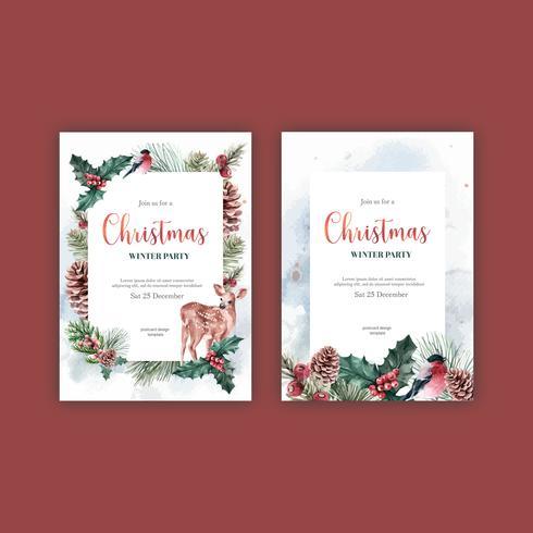 Blommigt blommande elegant bröllopinbjudningskort för vinter för härlig, kreativ akvarellvektorillustration för dekorativ tappning vektor