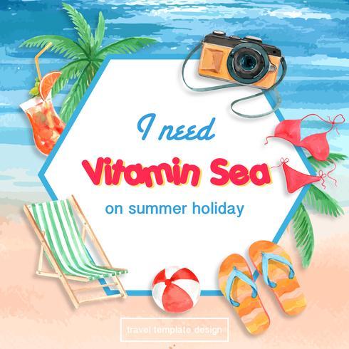 Resa på semestrar sommaren stranden Palmen semester ram krans, hav och himmel solljus, kreativ akvarell vektor illustration design