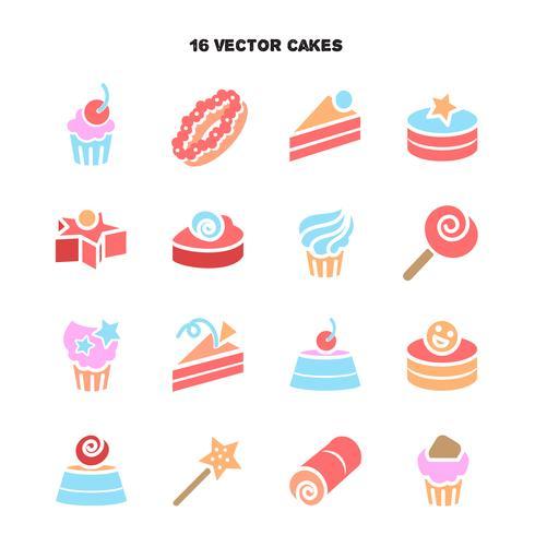 Sammlung Bäckerei- und Kuchenikonen. Süßigkeiten, süßes Set vektor