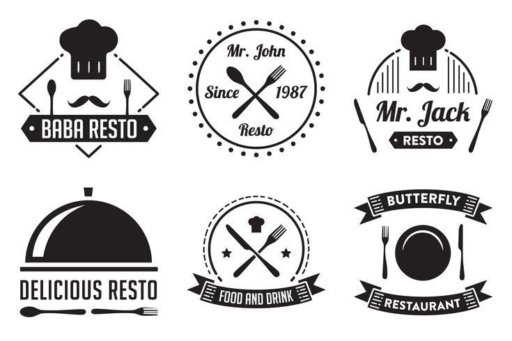 Restaurangemblem och logotyp, bra för tryck vektor