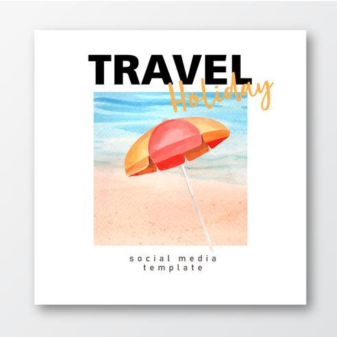 Resa på semestrar sommaren stranden Palm tree semester affisch, hav och himmel solljus, kreativ akvarell vektor illustration design