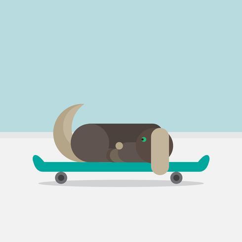 Hundsammanträde på en skateboard vektor