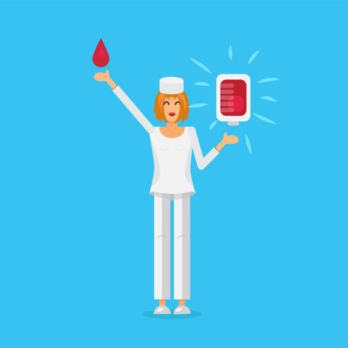 Sjuksköterska med blodpåse vektor