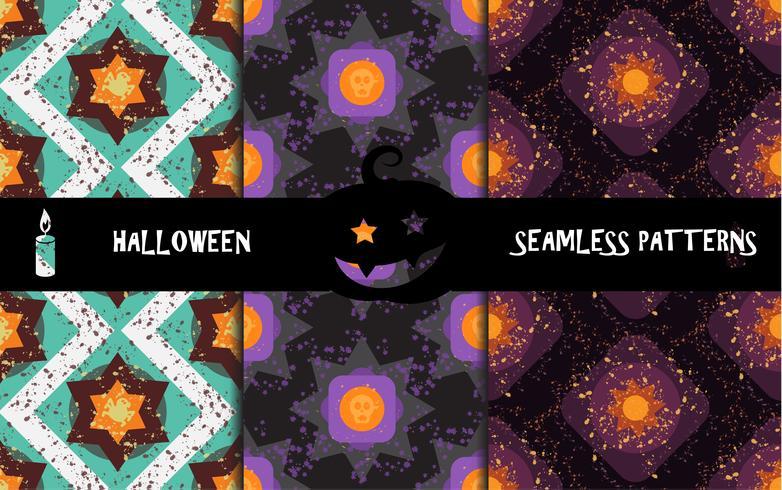 Geometriska sömlösa mönster för grunge färgglada halloween vektor