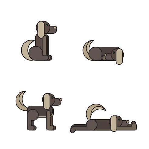 Hund in 4 Stellungen vektor