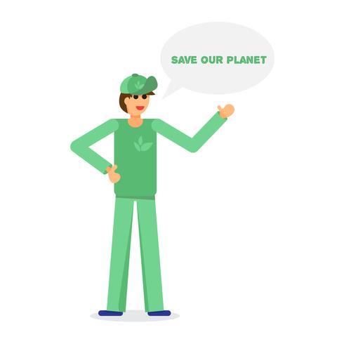 Grüner Aktivist und Ökologie vektor