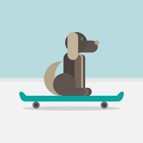 Hund sitzt auf einem Skateboard vektor