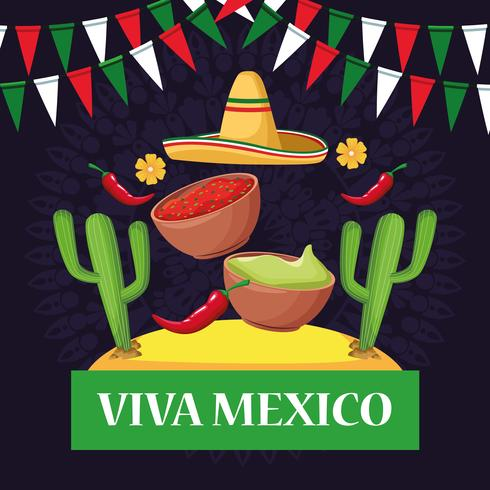 Viva Mexiko Kartenkarikaturen vektor