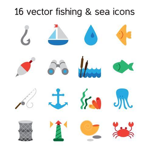 Isolerade marina och fiske ikoner set vektor