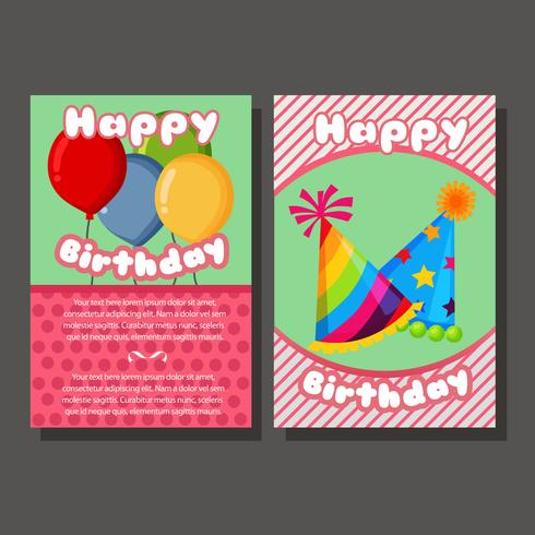 nette alles Gute zum Geburtstagschablonenkarte zwei vektor