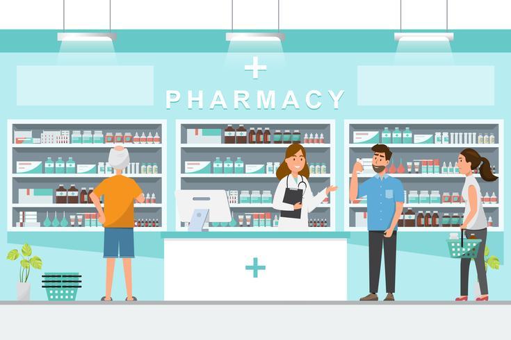 apotek med apotekare och klient i disk vektor