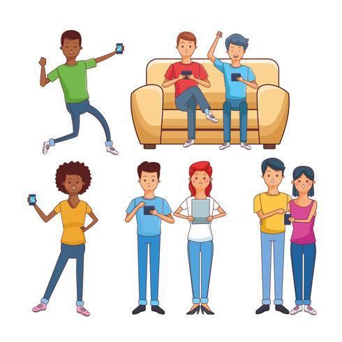 tonåringar med teknik vektor