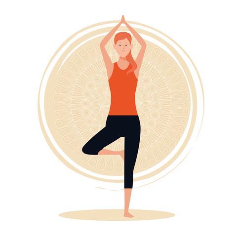 Frau in Yoga-Posen vektor