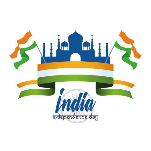 Indiens självständighetsdagskort vektor