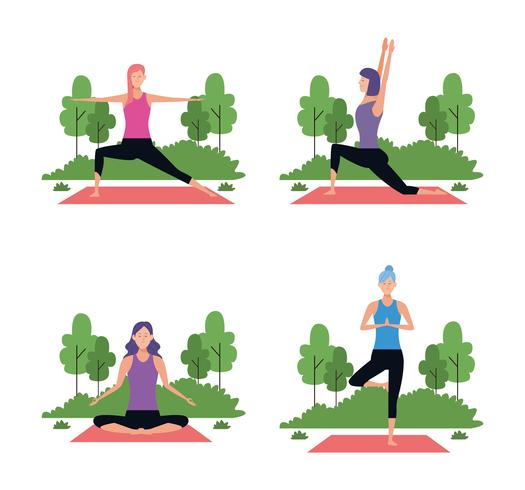 Satz von Frau in Yoga-Posen vektor