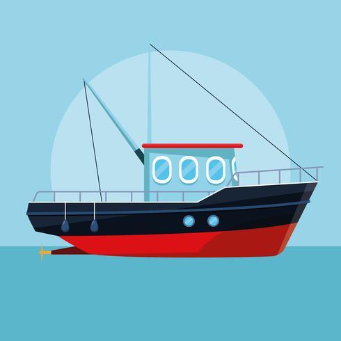 fiskebåt tecknad vektor