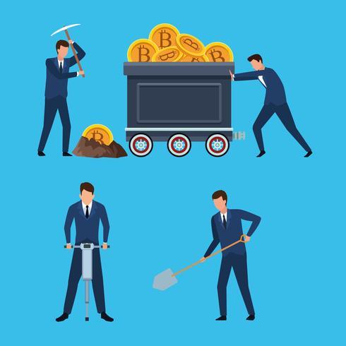 Satz von digitalen Bergbau Bitcoin Mann vektor